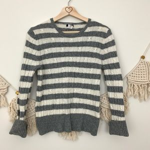 J. Crew Wool & Cashmere Striped Cable Knit Sweater
